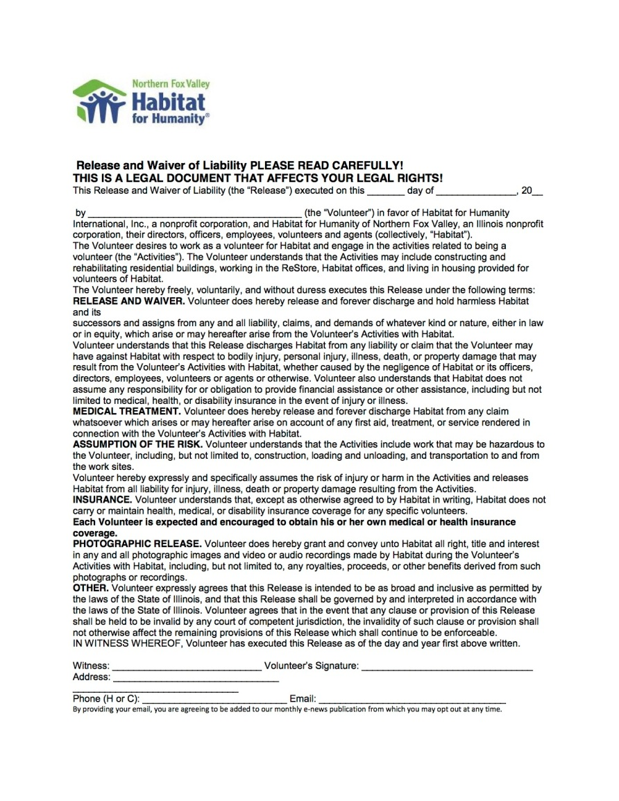 Habitat for Humanity of Northern Fox Valley adult waiver