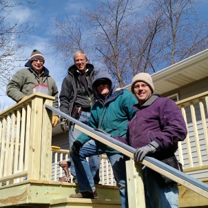 Volunteers Enjoying the Completed Deck